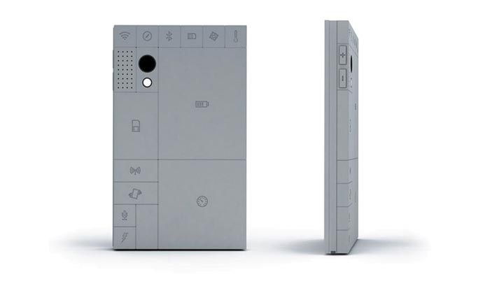 Back and side view of the PHONEBLOCKS Smartphone Modular Mobile Phone