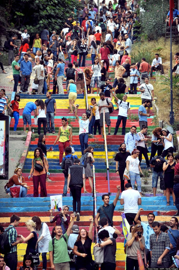 Gathering of people at the Rainbow Stairs in Istanbul by Huseyin Cetinel