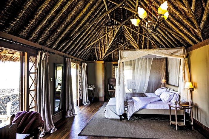 Bedroom interior design at the Segera Retreat in Kenya