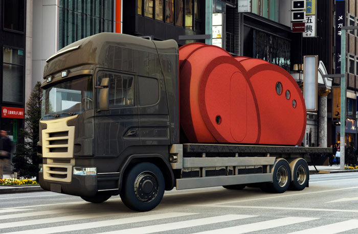 Shelter ByGG Portable Accommodation by Gabriela Gomes being transported on a truck