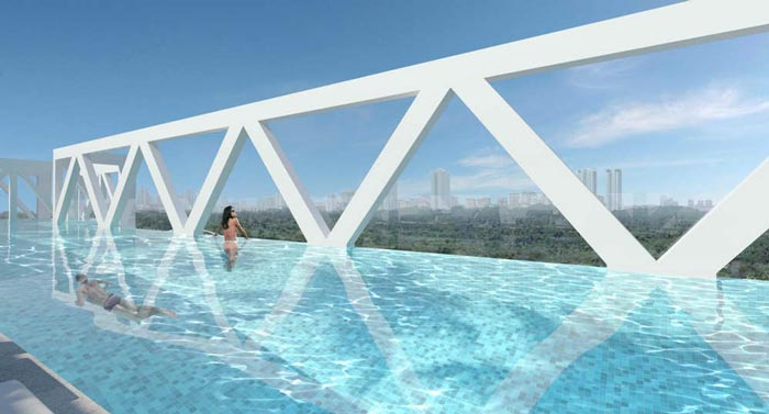 Rooftop swimming pool at the Sky Habitat Condominiums in Singapore Safdie Architects