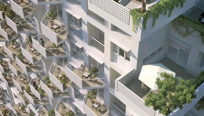 Apartment balconies at the Sky Habitat Condominiums in Singapore Safdie Architects