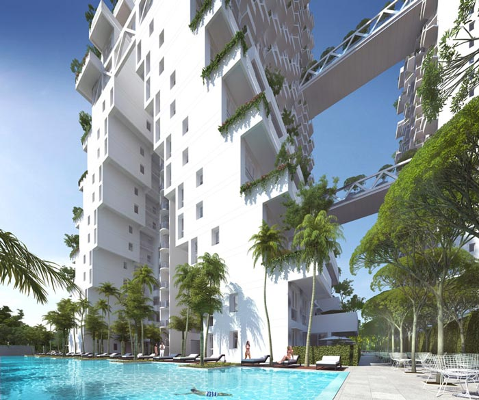 Swimming pool at the Sky Habitat Condominiums in Singapore Safdie Architects