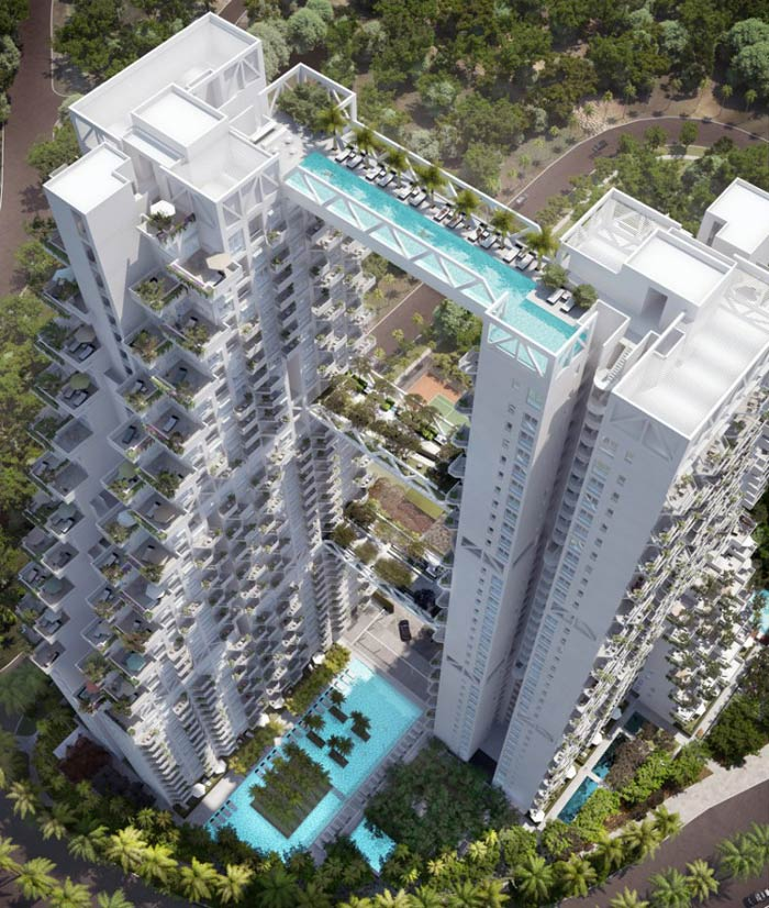Aerial view of the Sky Habitat Condominiums in Singapore Safdie Architects