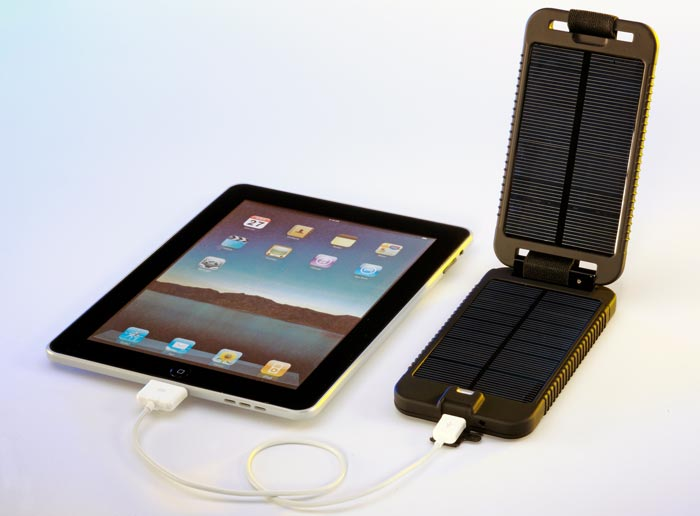 SolarMonkey Adventurer by Powertraveller charging an iPad