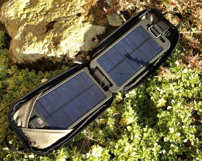 SolarMonkey Adventurer by Powertraveller in use outdoors