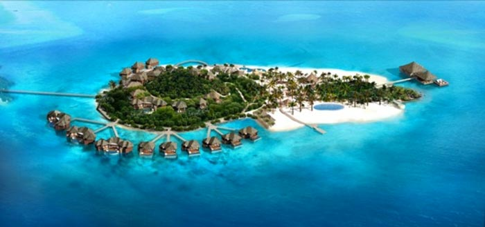 Aerial view of the Song Saa Private Island Resort in Cambodia