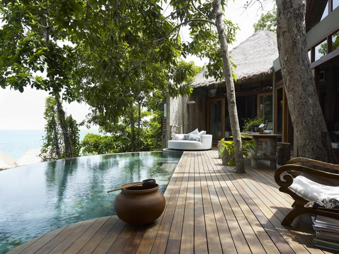 Wooden patio at the Aerial view of the Song Saa Private Island Resort in Cambodia