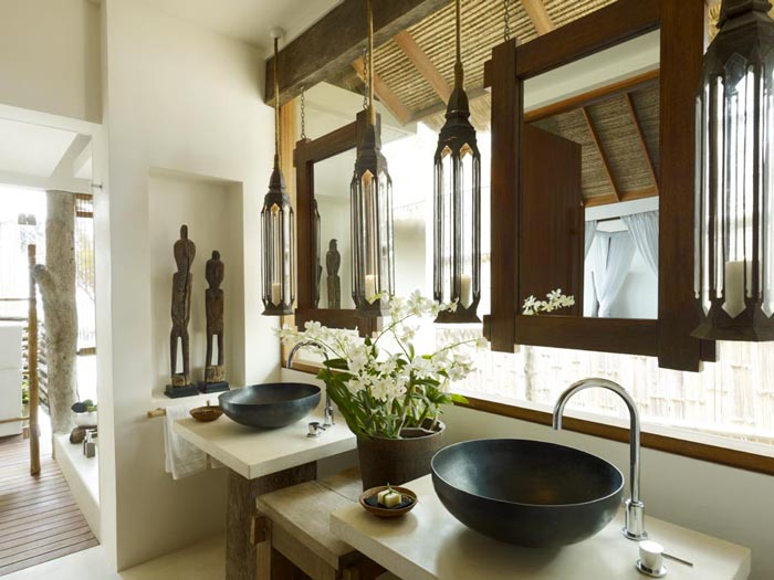 Bathroom interior design at the Aerial view of the Song Saa Private Island Resort in Cambodia