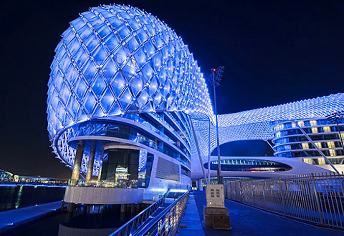 Blue LED lights of the YAS Viceroy Hotel in Abu Dhabi