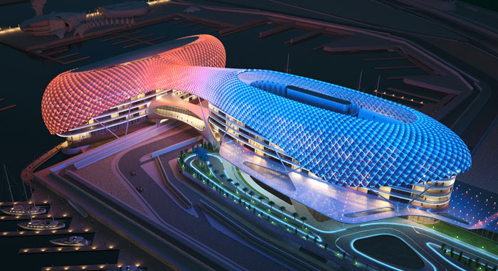 Aerial view of the YAS Viceroy Hotel in Abu Dhabi