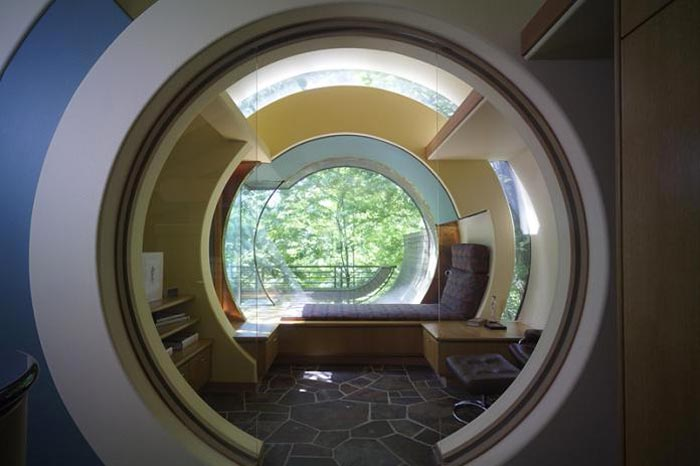 Lounge at a Treehouse Mansion in Portland, Oregon by Robert Harvey Oshatz