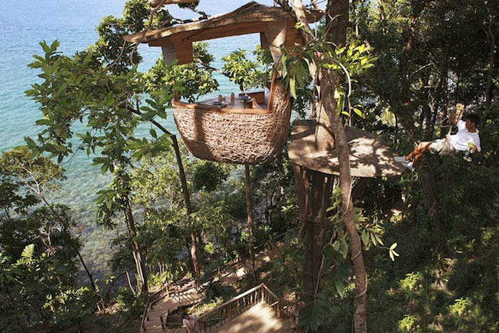 Treepod suspened from a tree at Soneva Kiri, in Thailand