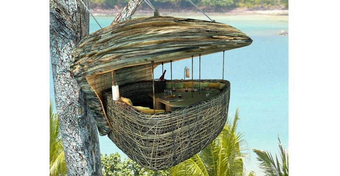 Treepod at Soneva Kiri, A Suspended Dining Pod in Thailand on Jebiga