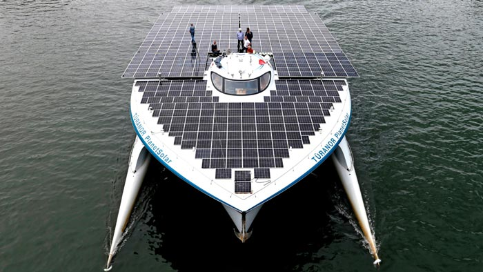 Turanor PlanetSolar World Largest Solar Powered Ship view from the top