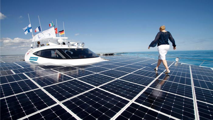 Solar panels on the Turanor PlanetSolar World Largest Solar Powered Ship