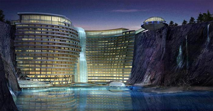 Waterworld Hotel in Songjiang Quarry in China