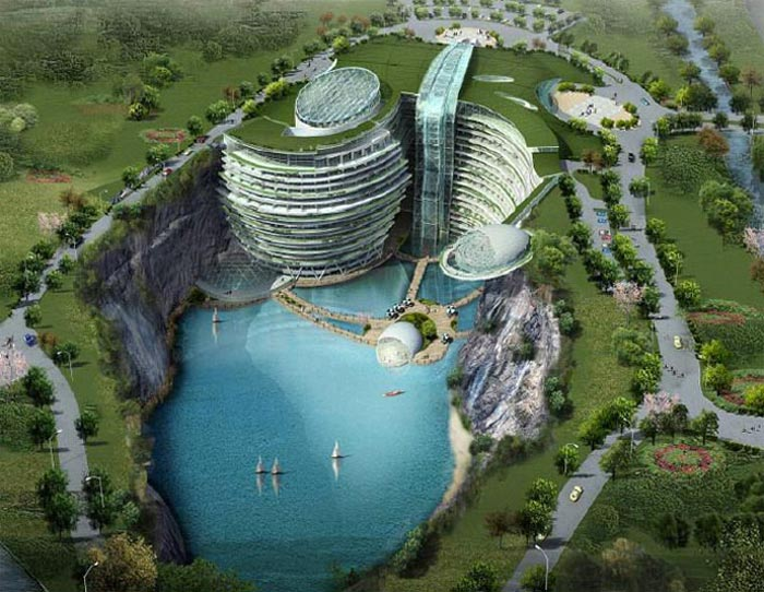 Render of Waterworld Hotel in Songjiang Quarry in China