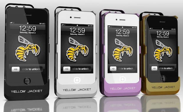 Different case colors of the iPhone Stun Gun Case and Emergency Charger by Yellow Jacket