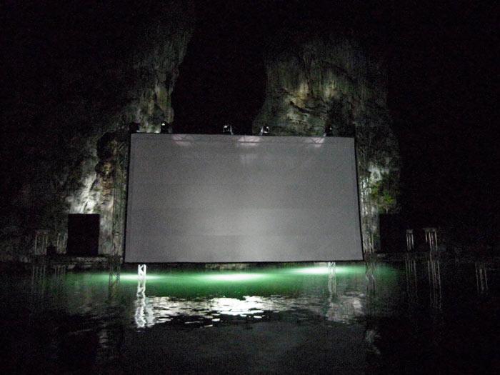 Movie Screen at Archipelago Cinema Floating Cinema in Thailand