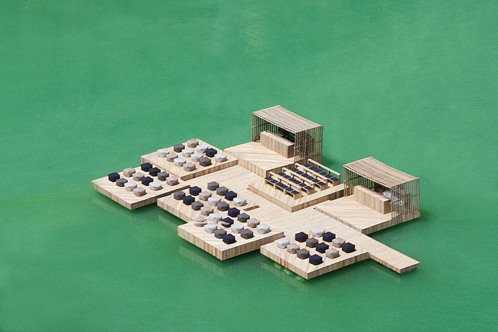 Floating deck of the Archipelago Cinema Floating Cinema in Thailand