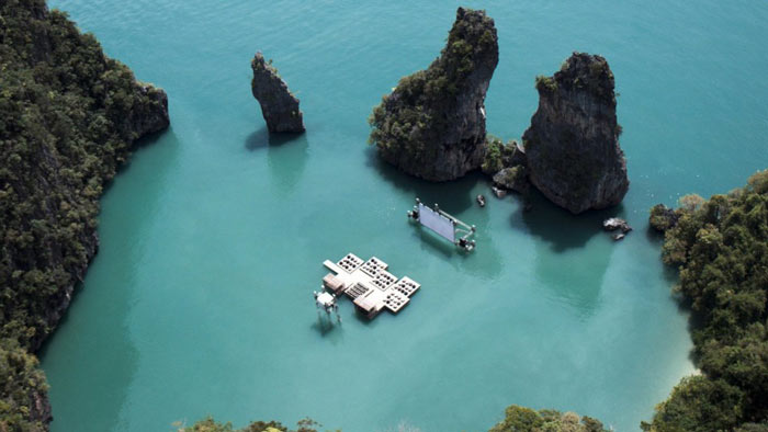 Aerial view of the Archipelago Cinema Floating Cinema in Thailand
