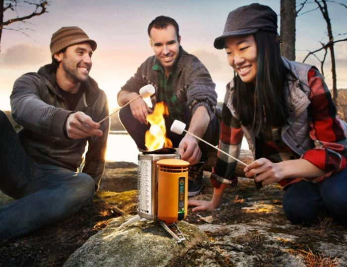 Campers using the BioLite Stove - Electricity Generating Stove