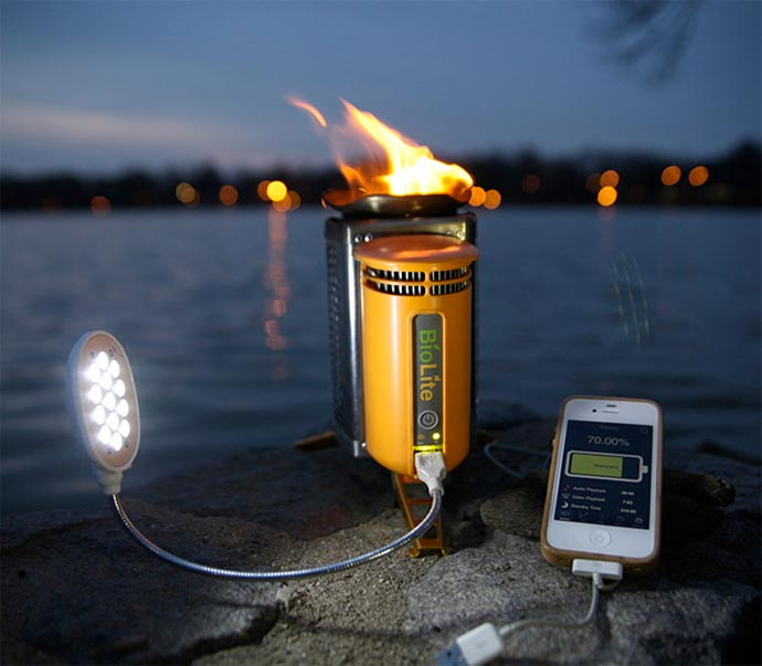 BioLite Stove - Electricity Generating Stove being used to charge a phone and power a light