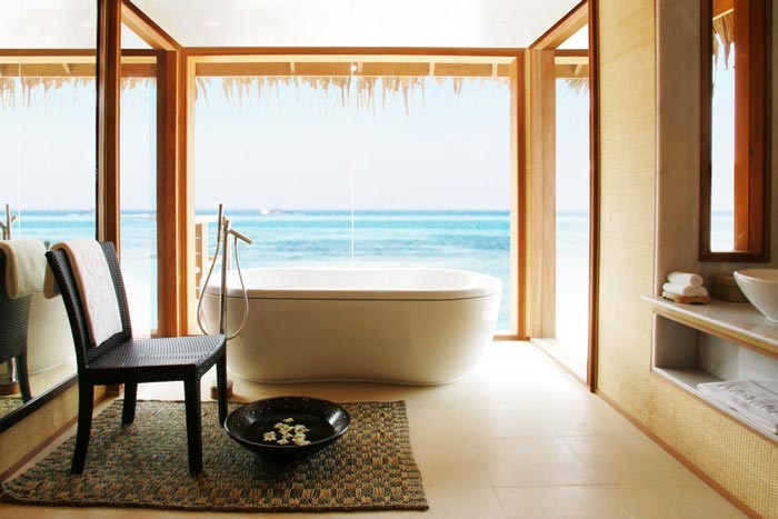 Bathtub overlooking the see in The Maldives