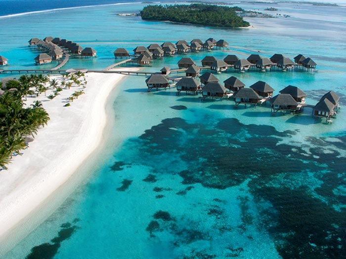 Aerial view of the water bungalows at Club Med Kani Family Resort in The Maldives