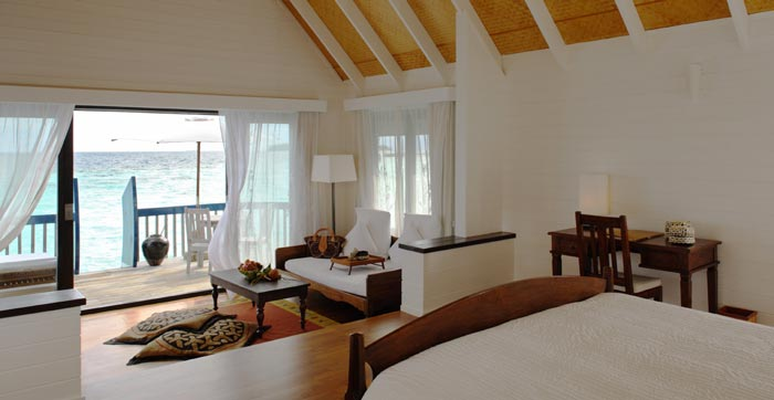 Interior design of a room at Cocoa Island Resort
