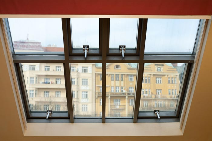 Sky window in a private apartment at Czech Inn Hostel in Prague