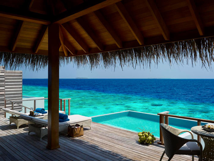 View of the sea from a beach hut at Dusit Thani Maldives Resort in Baa Atoll