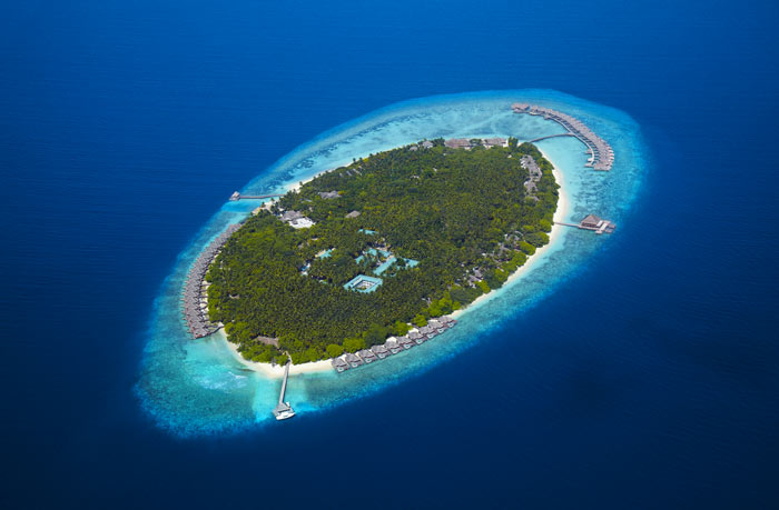 Aerial view of Dusit Thani Maldives Resort in Baa Atoll