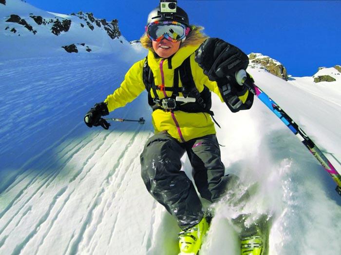 Skier using the GoPro Hero3+ HD Action Camera