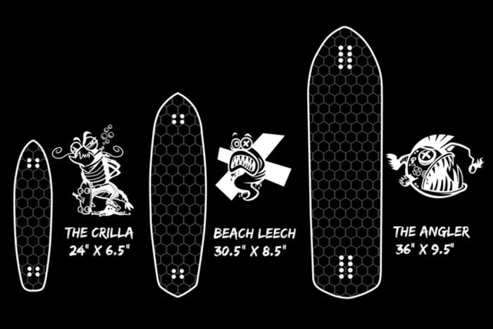 Different sizes of the Hydroflex Skateboards - Hi-Tech Honeycomb Design Skateboards by Hydroflex Technology