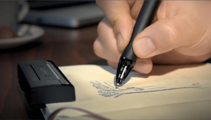 Inkling Wacom Digital Sketch Pen being used in a notebook
