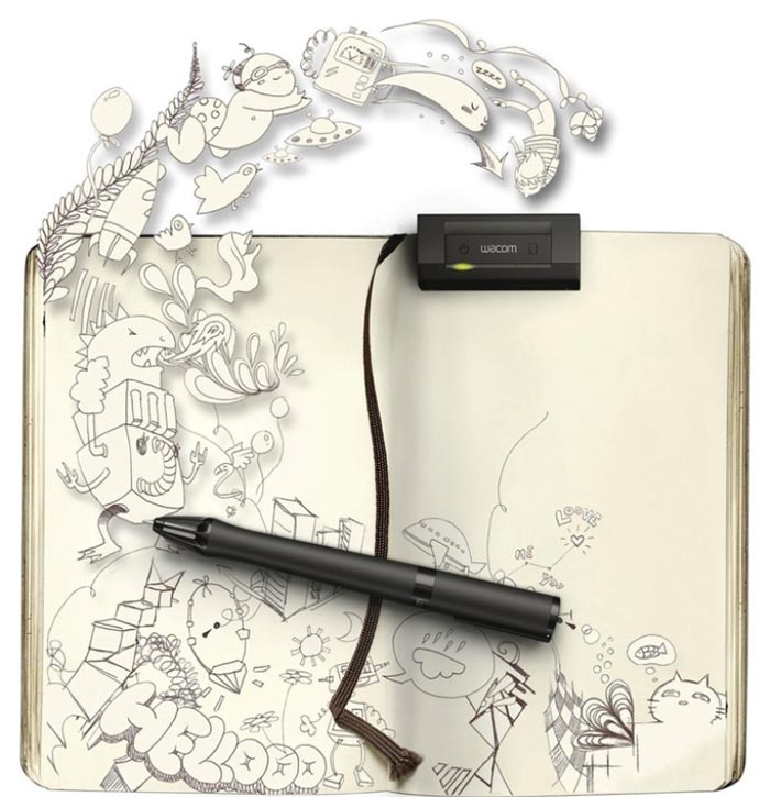 Inkling Wacom Digital Sketch Pen and a notebook