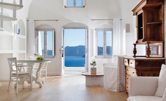 Interior design of a room at Katikies Hotel in Santorini