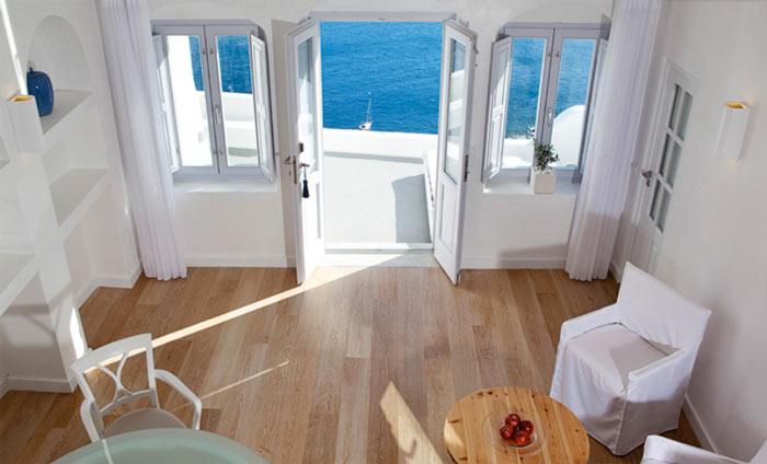 Interior decor of a room at Katikies Hotel in Santorini