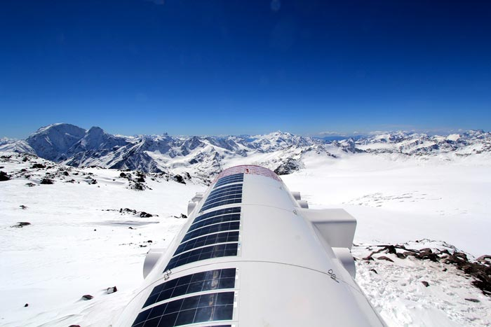 Solar panels on top of the LEAPrus 3912 - A Mountain Hotel in Russia