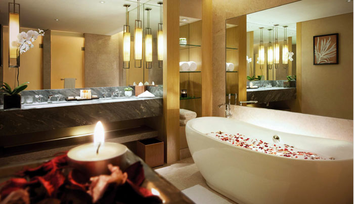 Bathroom design at Marina Bay Sands Hotel in Singapore
