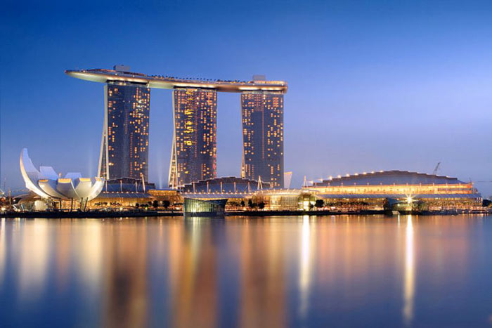Marina Bay Sands Hotel in Singapore during sunrise