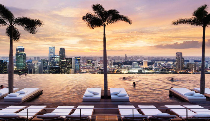 Infinity pool with a view of Singapore at Marina Bay Sands Hotel