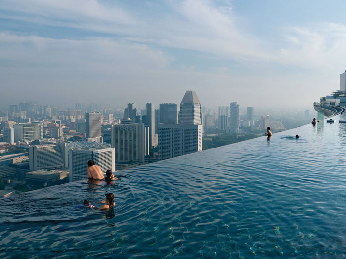 Rooftop infinity pool at Marina Bay Sands Hotel in Singapore
