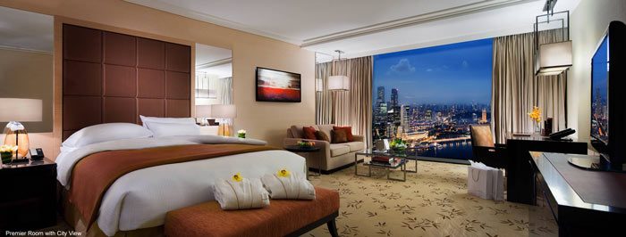 Bedroom design at Marina Bay Sands Hotel in Singapore