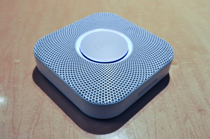 Side and top view of the Nest Protect - A Smoke Alarm and Carbon Monoxide Detector