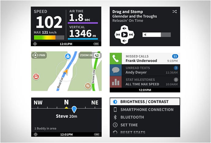 Oakley Airwave Screen Data which includes GPS and messaging and run stats
