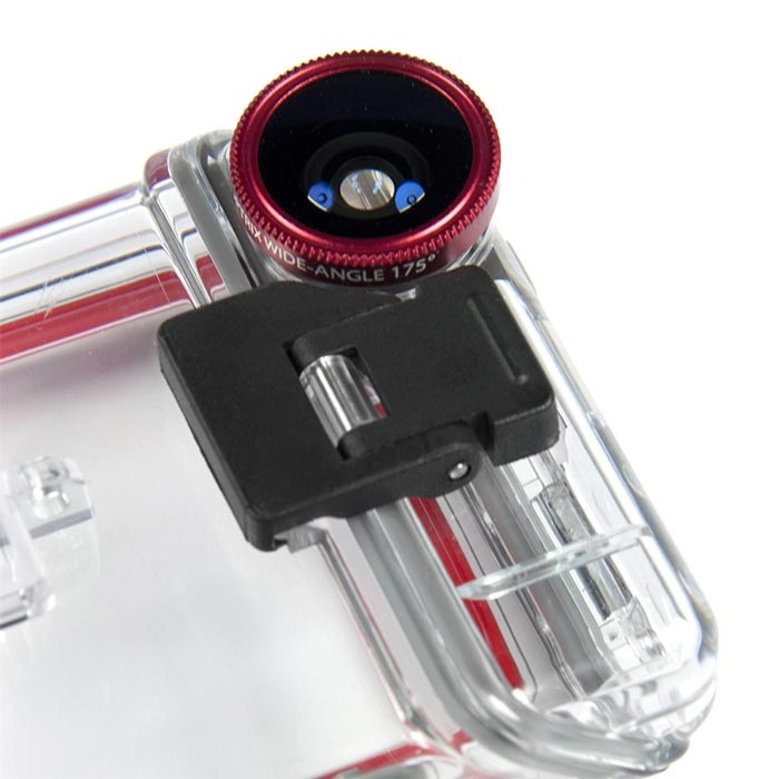 Lens and case of the Optrix XD5 Waterproof Action Camera iPhone Case
