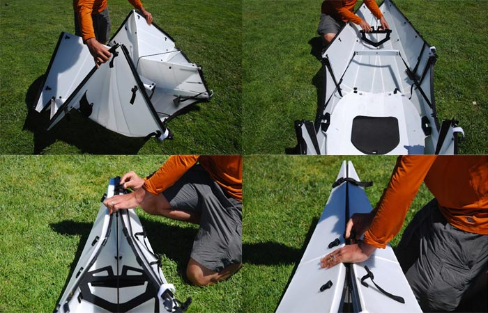 Steps in setting up the Oru Kayak - A Portable Origami Folding Boat